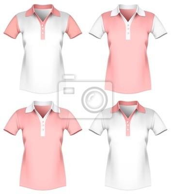 9ea2473c5 Ilustração do vetor do molde da camisa polo mulheres. fotomural ...