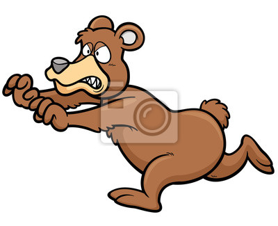ilustração do vetor dos desenhos animados do urso marrom fotomural