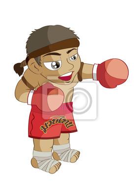 Ilustracao Do Vetor Dos Desenhos Animados Graphic Muay Thai Boxe