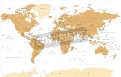 Fotomural Ilustração dourada do vetor do mapa do mundo do vintage político.
