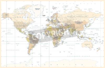 Fotomural Ilustração em vetor Topographic colorido mundo político mapa físico