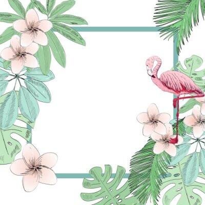 Fotomural Ilustração em vetor tropical com flamingo e flores.