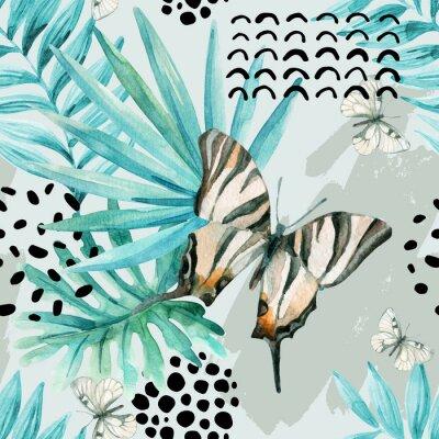 Fotomural Ilustração gráfica de aquarela: borboleta exótica, folhas tropicais, elementos de doodle no fundo do grunge.