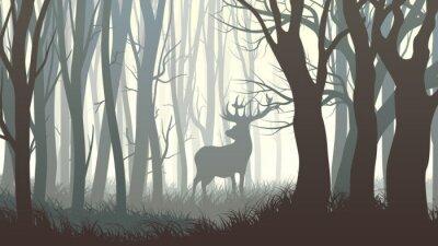 Fotomural Ilustração horizontal de alces selvagens na madeira.