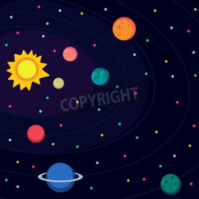 Fotomural Ilustração no plano do estilo sobre o espaço.