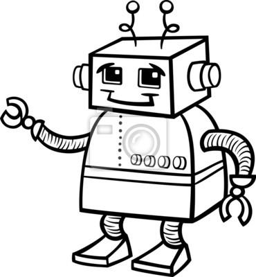 Ilustracao Robo Dos Desenhos Animados Para Colorir Fotomural