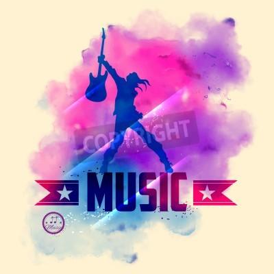 Fotomural Ilustração, rocha, estrela, Guitarra, musical, fundo