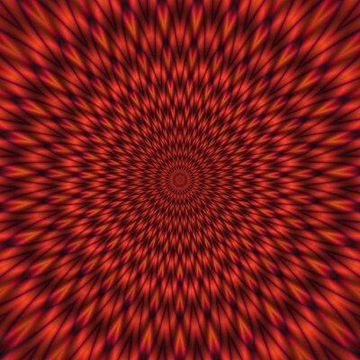 Fotomural Ilustração vermelha abstrata do túnel brilhante hipnótico