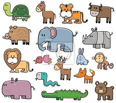 Ilustracao Vetorial De Desenhos Animados Animais Selvagens
