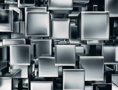 Fotomural imagem abstrata de cubos de metal de fundo