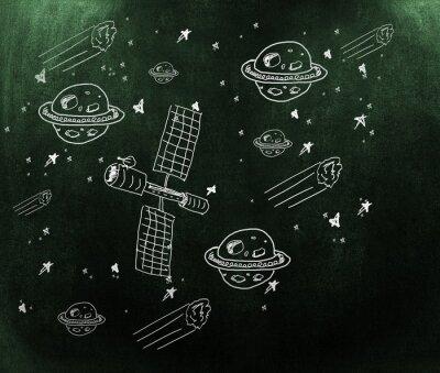 Fotomural Imagem composta de planeta, estrelas e satélite