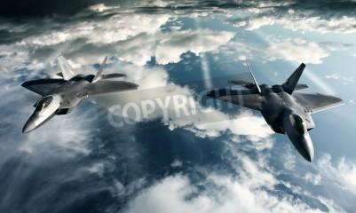 Fotomural Imagem digital de avião militar fazendo um vôo em alta atitude
