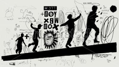 Fotomural Imagem simbólica dos meninos que correm em um log