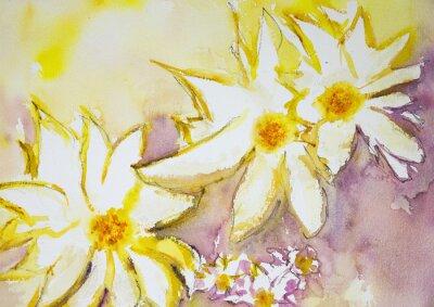 Fotomural Impressão de flores selvagens contra um fundo amarelo e vermelho. A técnica dabbing perto das bordas dá um efeito de foco suave devido à rugosidade da superfície alterada do papel.
