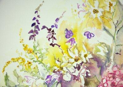Fotomural Impressão de uma mistura de flores selvagens. A técnica dabbing perto das bordas dá um efeito de foco suave devido à rugosidade da superfície alterada do papel.
