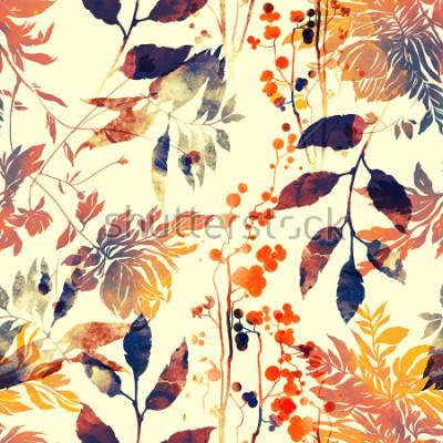 Fotomural imprime flores e folhas. Aquarela e digital imagem desenhada de mão. arte finala do vintage dos meios mistos