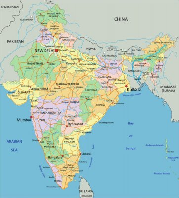 Fotomural India - mapa político editável altamente detalhado com a rotulagem.