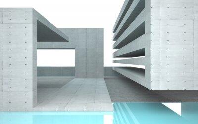 Fotomural Interior abstrata com vidro turquesa