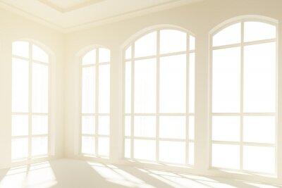 Fotomural Interior branco ensolarado, com grandes janelas
