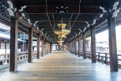 Fotomural Interior do Xintoísmo madeira templo Nishi Hongan-Ji em Kyoto - Honshu - Japão - Ásia