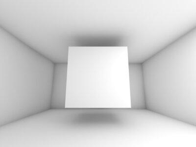 Fotomural Interior quarto branco abstrata com cubo voando