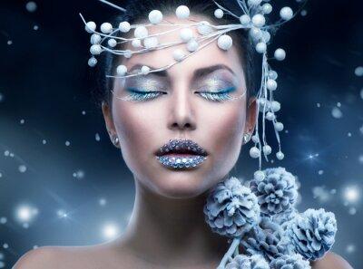 Fotomural Inverno Beleza. Maquiagem da menina do Natal