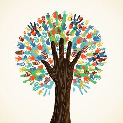 Fotomural Isolados mãos diversidade de árvores