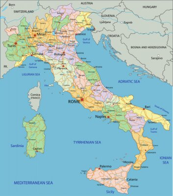Fotomural Itália - mapa político editável altamente detalhado com camadas separadas.