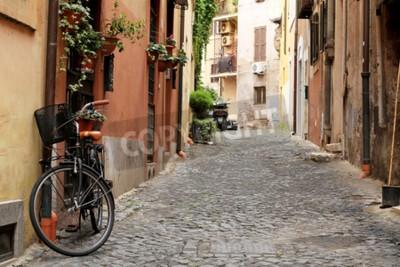 Fotomural Itália, rua com bicicleta e flores em Roma