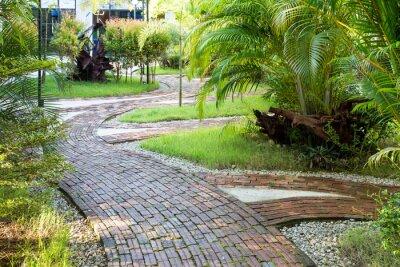 Fotomural Jardim de passeio caminho feito de tijolos de barro na luz agradável da manhã