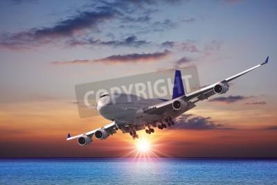 Fotomural Jet liner sobre o mar ao entardecer