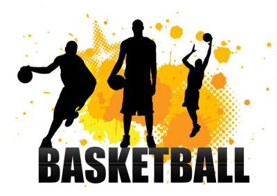 Fotomural jogador de basquete em ato com fundo do grunge