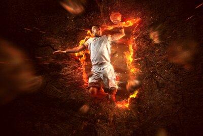 Fotomural Jogador de basquetebol no fogo