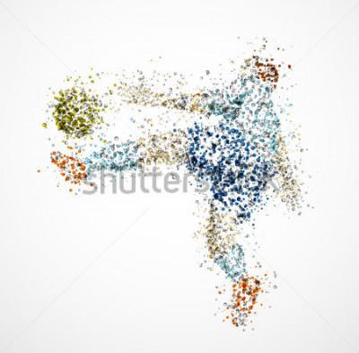 Fotomural Jogador de futebol, chutar uma bola. Eps 10