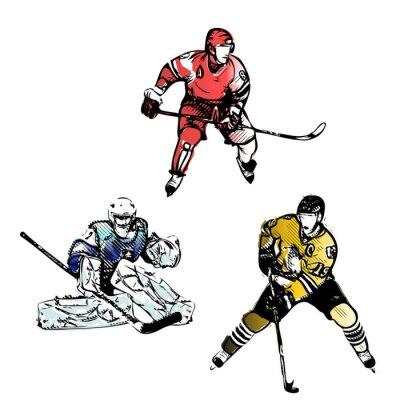 Fotomural jogadores de hóquei no gelo ilustrações vetoriais