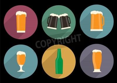 Fotomural Jogo, de, apartamento, cerveja, ícones, com, longo, sombra