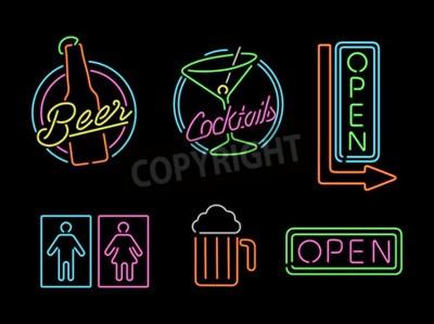 Fotomural Jogo de ícones do sinal do esboço da luz de néon do estilo retro para o símbolo da barra, da cerveja, do negócio aberto, do cocktail e do banheiro.