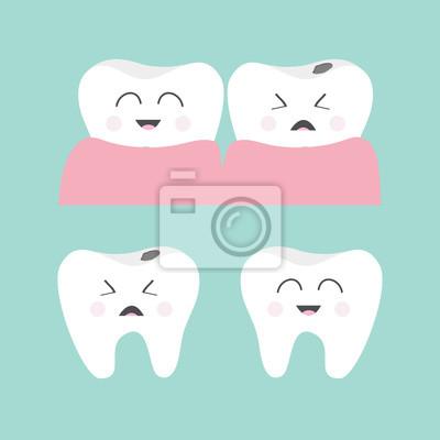 5d319289e Fotomural Jogo do ícone da goma do dente. Dente de sorriso saudável.  Chorando dente