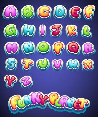 Fotomural Jogo dos desenhos animados letras coloridas para a decoração de nomes diferentes