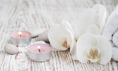 Fotomural Jogo dos termas com orquídeas brancas