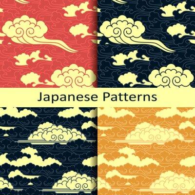 Fotomural Jogo, quatro, japoneses, tradicional, nublado, padrões