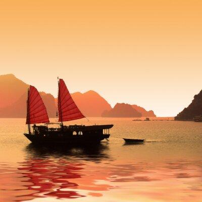 Fotomural Jonque dans la Baie d'Halong - Vietnã