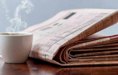 Fotomural Jornal e café
