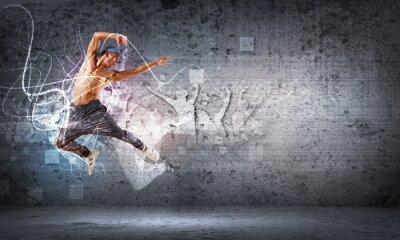 Fotomural jovem a dançar hip hop com linhas de cor
