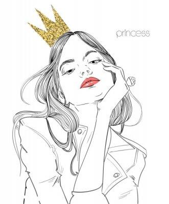 Fotomural jovem mulher bonita com coroa
