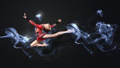 Fotomural Jovem, mulher, ginasta terno posando