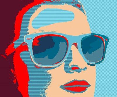 Fotomural Jovem, mulher, portret, óculos de sol, pop-art, estilo