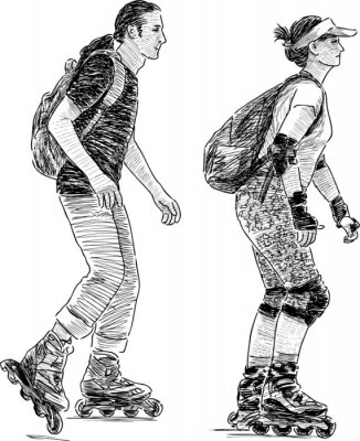 Fotomural jovens de patinação
