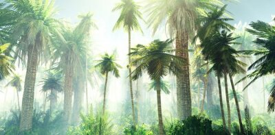 Fotomural Jungle in the fog, palm trees in the morning in the haze, rays of light in the palm trees, 3D rendering