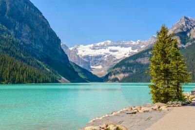 Fotomural Lago majestoso da montanha em Canadá. Opinião do lago Louise em Banff, Alberta, Canadá. Montanhas Rochosas.